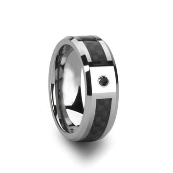 Black Diamond Wedding Band - Tungsten Ring - Silver and Black Tungsten - Black Carbon Fiber - Beveled Edge - Tungsten Wedding Band - 8mm