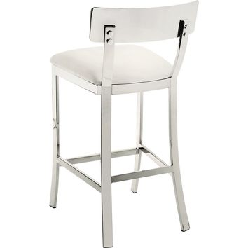 Maiden Counter Height Stool White Leather
