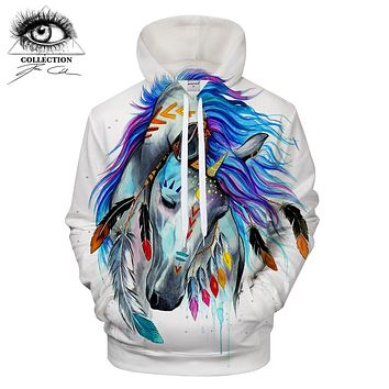 Pferd by Pixie cold Art 3D Animal Hoodies horse Pritned Sweatshirts Men Tracksuits Brand Drop Ship Hooded Pullover ZOOTOP BEAR