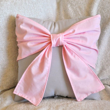 MOTHERS DAY SALE Throw Pillow - Decorative Pillow -  Light Pink Big Bow on Light Gray Pillow