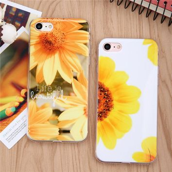 Fashion Sunflower Phone Cases For iPhone 6 6s Plus SE 5 5s Case Ultra Thin Soft TPU GEL Rubber Cover Funda Flowers Pattern Capa