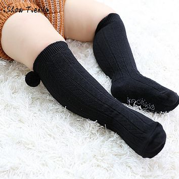 Newborn Kids Girl Boy Anti-slip Baby Socks Hairball Cute infant Toddler socks with print New Year's socks children knee socks