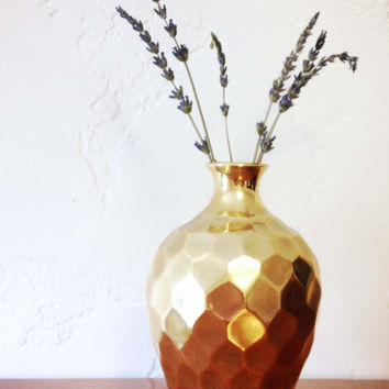 Vintage Brass Gilded Honeycomb Faceted Vase Made in India