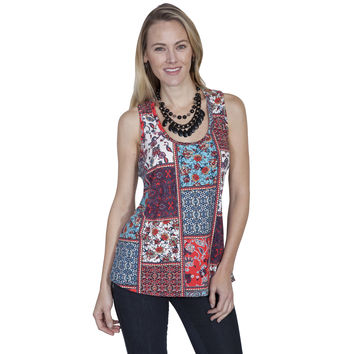 Scully Womens Multi-Colored Blue Lace Racer Back Tank