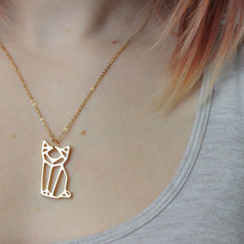 14k Gold Cat Necklace, 14k Gold Necklace, Origami Necklace, Animal Geometric Necklace, Geometric Jewelry, Gold Cat Jewelry, Crazy Cat Lady