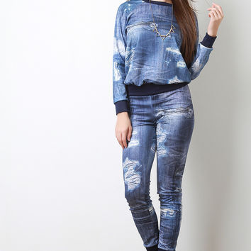 Distress Denim Print Joggers