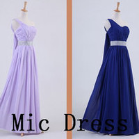 One-shoulder sleeveless floor-length chiffon sashes pleated long prom/Evening/Party/Homecoming/cocktail /Bridesmaid/Formal Dress