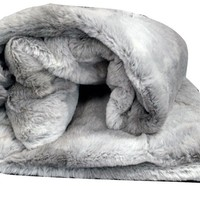 Tache Gray Plush Rabbit Faux Fur Throw Blanket (Rabbit)