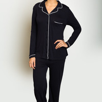 Organic Cotton Piped Pajamas - Only Hearts