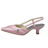 Cute Pink Low Heel Pointed Toe Handmade Comfy Wedding Shoes S55