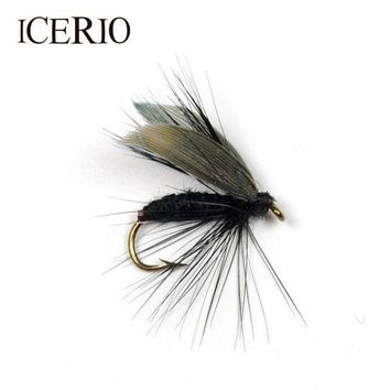 ONETOW ICERIO 6PCS Black Fly Larvae With Wings Fly Fishing for Trout Bait Size #12