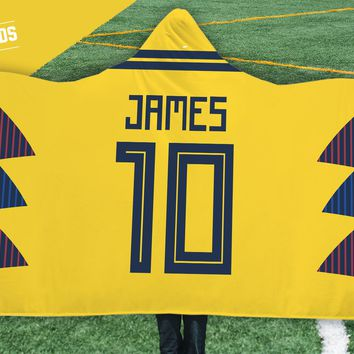 James Rodriguez Colombia Home Jersey 2018 Hooded Blanket - FIFA World Cup