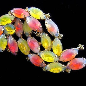 Pink & Opalescent Yellow Givre/Sabrina Rhinestone Brooch, Unsigned KRAMER, Opalescent, Vintage