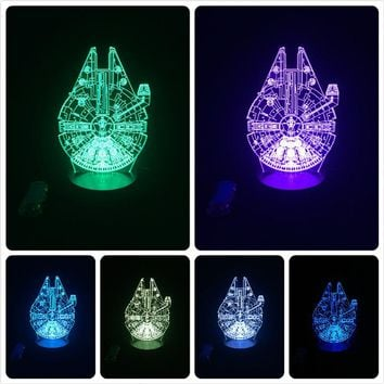 Star Wars Millennium Falcon 3D Color Changing Table Lamp LED Night Light for Cool Boy Kids Children Bedroom Decor Gift