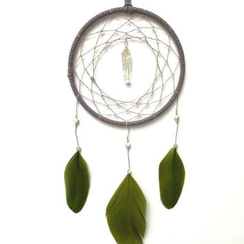 Dream Catcher - Minimal - Quartz Healing Crystal - Green Feathered Dreamcatcher