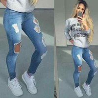 DCCKHTG Boyfriend  Distressed Denim Jeans