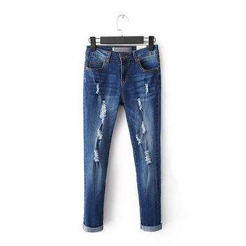 Summer Rinsed Denim Ripped Holes Slim Stretch Jeans Skinny Pants [6332324292]