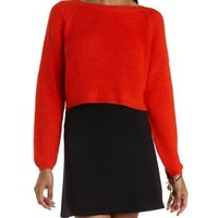 Cropped Pullover Sweater by Charlotte Russe