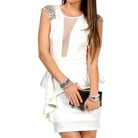 Ivory Embellished Peplum Dress
