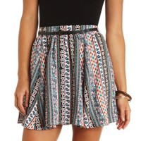 Button-Up Paisley Print Belted Skater Skirt - Multi