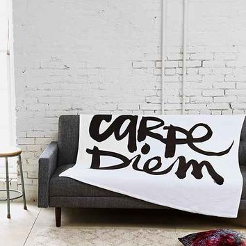 Kal Barteski For DENY Carpe Diem Fleece Blanket- Black & White One