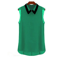 Green Collared Sleeveless Chiffon Blouse