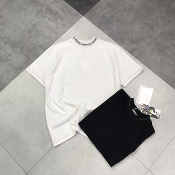 """Acne Studios"" Women All-match Casual Simple Letter Turtleneck Short Sleeve T-shirt Top Tee"