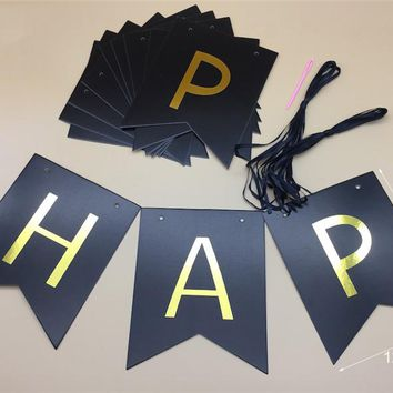 13pcs /set Happy Birthday Paper Black Banner Garland Paper Gold Glitter Letters for Party Wedding Birthday Decorative Banners