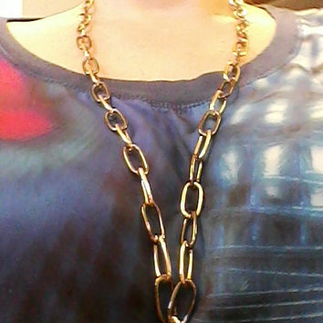Vintage Large Chain Link Gold & Gunmetal Chain ~ Necklace
