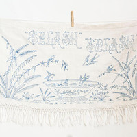 Vintage Bird Print Embroidered Linen, Blue Hand Embroidery Illustration Wall Hanging with Fringe, Boho Chic Dresser Scarf