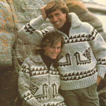 White Buffalo Pattern #6124. Cowichan Salish style sweater, Wool cardigan, Adult, Native Canadian, hippy, West coast, stranded his and hers