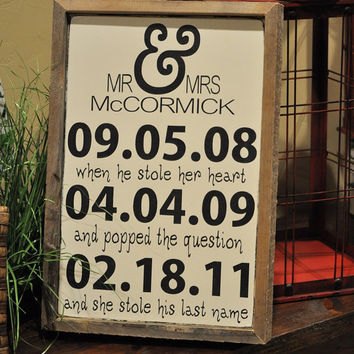Personalized Engagement Gift,Wedding Gift, Engagement Present, Bridal Shower Gift, Custom wood wedding sign with weathered frame