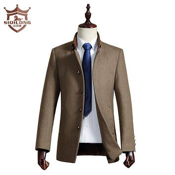 SIQILONG Thicken Men Woolen Coats Jackets Male Homme Overcoat Fashion Brand Outwear Warm Long Sleeve Pea Coat Stand Collar S-4XL