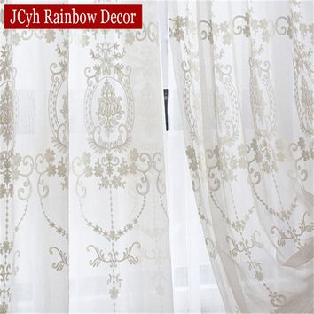Embroidered White Tulle Curtains For Living Room