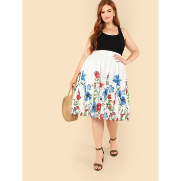 White Botanical Print Umbrella Skirt