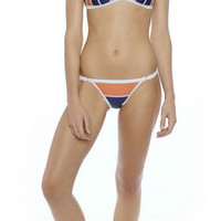 Orange Color Block Halter Bikini Set