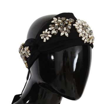 Black Floral Crystal Headband