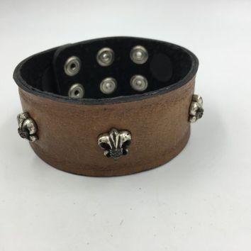 Royalty Collection Sterling Silver Fleur De Lis Brown Leather Bracelet Strap