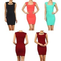 Sexy Square Neck Bodycon Slim Pencil Straight Evening Sheath Dress w/Necklace