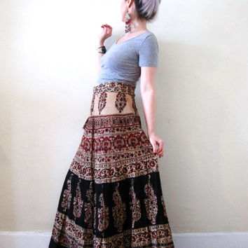 vintage 70's cotton Indian maxi wrap skirt / ethnic print earth tones / boho hippie gypsy festival