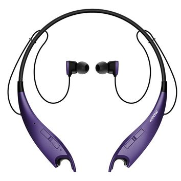 Mpow Jaws V4.1 Bluetooth Headphones Wireless Neckband Headset Stereo Noise Cancelling Earbuds w/Mic (Purple)