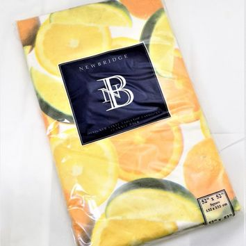 "Citrus Vinyl Tablecloth, 52"" Square, NOS Newbridge, Orange Lemon Lime, Vintage Linens"