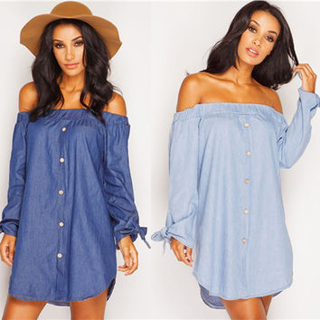 2016 summer new fashion women denim dress Sexy Off Shoulder Beach Dress Shirt Dress long sleeve dress plus size
