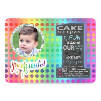 Chalkboard Number One Photo BOY 1st Birthday Card