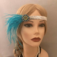 1920's Silver Turquoise Blue-Green Circle Mofif  glittery trim headband ostrich feather flapper 20's art deco 1920s elastic headpiece (723)