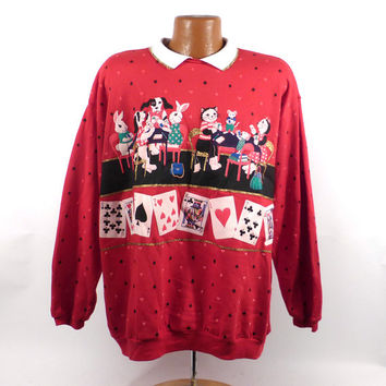 Ugly Christmas Sweater Vintage Sweatshirt Cats Poker Scene Party Xmas Tacky Holiday Spumoni size 3X
