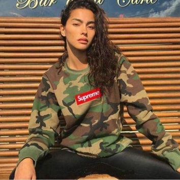 SUPREME camouflage men and women with a hoodie collar shirt pullover G