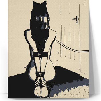 Kinky kitten adult canvas art print, sexy BDSM fetish themed artwork, submissive girl