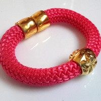 Fuschia Poly Braided Rope Cord Bracelet With Gold Flower and Gold Magnetic Clasp