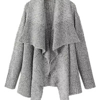 Gray Lapel Knitted Cardigan